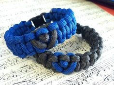 Blue and Dark Grey His and Hers Paracord Bracelets! Cute! Fitness and Outdoor enthusiasts love them! Handmade too!