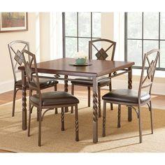 Steve Silver Annabella Dining Table Set in Medium Oak Finish