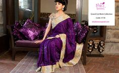 Grand Party wear - Purple color saree with cut works all over saree and cut work blouse. Mail shezlemon@gmail.com to buy this. Visit: https://www.facebook.com/pages/Shez-Lemon/185269778201460