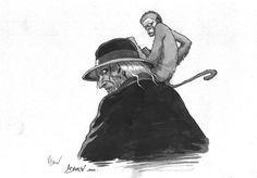 Planche originale de bande dessinée, galerie Napoléon  : ILLUSTRATIONS - ADAMOV - Illustration originale en hommage à Jean Dufaux -