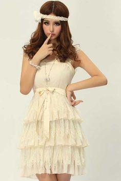 ROMWE | Triangle Layered Hem Apricot Dress, The Latest Street Fashion