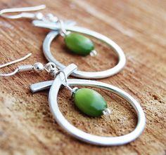 Silver. Aluminum. Green. Hoop. Earrings. by Karismabykarajewelry