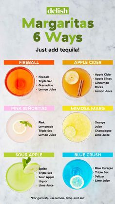 24 Totally Life-Changing Margarita Recipes - - Not an exaggeration. Easy Alcoholic Drinks, Liquor Drinks, Cocktail Drinks, Fun Drinks, Yummy Drinks, Tequila Drinks, Vodka Tequila, Beverages, Wine Cocktails