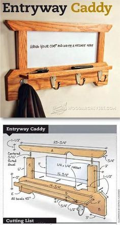 Wall Mounted Coat Rack Plans - Furniture Plans and Projects | http://WoodArchivist.com | http://WoodArchivist.com #woodworkingplans