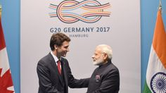 <p>Prime Minister Narendra Modi meeting the Prime Minister of Canada, Justin Trudeau, on the sidelines of the 12th G-20 Summit, at Hamburg, Germany