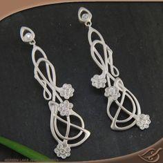 Silver Art Nouveau inspired floral diamond earrings