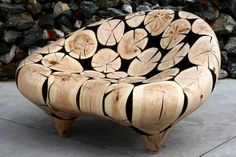 South Korean artist Jae-Hyo Lee creates impressive wood sculptures using discarded tree trunks. To create the pieces, he first gathers chunks of tree trunk wood, burns the materials down and then polishes them into sleek sculptures or furniture Into The Woods, Organic Sculpture, Wood Sculpture, Cardboard Sculpture, Log Furniture, Furniture Design, Street Furniture, Chair Design, Tree Trunks