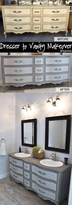Dresser to vanity and bathroom renovation. Got an old French Provincial style dresser off Craigslist and gave it a makeover! I love the before and after. #vintagefrenchdecor
