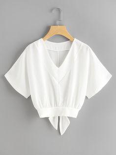 Shop Split Bow Tie Back Dolman Top online. SheIn offers Split Bow Tie Back Dolman Top & more to fit your fashionable needs.
