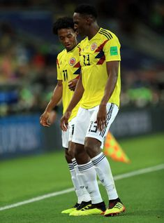 Yerry Mina of Colombia celebrates with teammate Juan Cuadrado after scoring a goal to make it during the 2018 FIFA World Cup Russia Round of 16 match between Colombia and England at Spartak. Fifa World Cup, Artsy Fartsy, Russia, Goal, Soccer, Celebrities, Sports, Fashion, Colombia