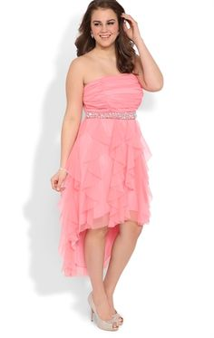 Plus Size High Low Prom Dress with Stone Waist and Tendril Skirt Curvy Plus  Size Prom Dress 2014 www. 7aa8988e3