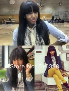 7A Brazilian Virgin Hair With Cuticles Intact and Align In The Same Direction Full Lace Wigs With Bangs
