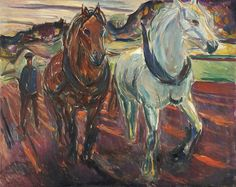 Horse Team Ploughing 1919–20 / Oil on canvas / 100 x 125 cm Munch Museum