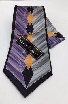 Stacy Adams Tie & Hanky Set Silver Gray Lavender Black & Mustard 100% Silk Men's #StacyAdams #TieHankySet