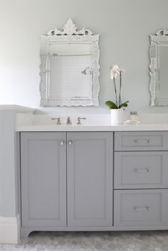 Cabinet painted in Coventry Gray Benjamin Moore. Studio McGee Design.