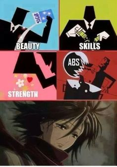 How to Create a Mikasa: I agree with the first 3 ingredients, but why is the 4th 'ABS'? <> Have you not seen Mikasa's abs??