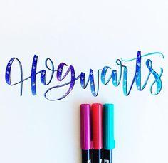 Hogwarts Harry Potter Lettering by DIY and Crafts, Hogwarts Harry Potter Lettering by Hand Lettering Styles, Brush Lettering, Lettering Design, Pretty Handwriting, Letter Art, Letters, Harry Potter Art, Hogwarts, Brush Pen