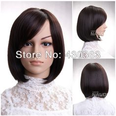 Short Bob Wig for Women Chestnut Wig Natural Straight Wig Belle Wig Wigs With Bangs, Hairstyles With Bangs, Neck Length Hair Cuts, Carnival Hairstyles, Red Hair Extensions, Hair Extension Clips, Real Hair Wigs, High Quality Wigs, Side Swept Bangs