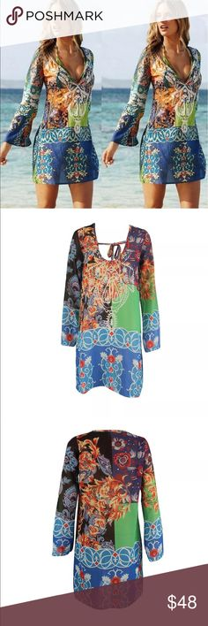 Sz L-XL Vintage Boho Kaftan Chiffon material vintage design Cover up with bell sleeves. Swim Coverups