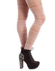 Perforated Stripe Patterned Tight: Charlotte Russe
