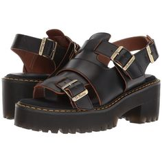 Dr. Martens Ariel (Black Vintage Smooth) Women's Sandals ($145) ❤ liked on Polyvore featuring shoes, sandals, summer shoes, breathable shoes, dr martens sandals, black shoes and long sandals