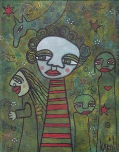 Naive Art : By Karin Dempsey Greenwood : Mixed Media : Canvas Board. Vibrant Colors, Colours, Canvas Board, Naive Art, Outsider Art, Mixed Media, My Arts, Horses, Art Paintings