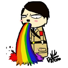 Anyone else confused by the Hitler puking a rainbow?