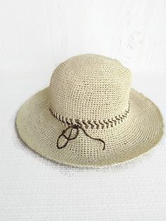 e947099e366 Raffia hat with a wide brim women large - Crochet white packable sun hats -  Summer