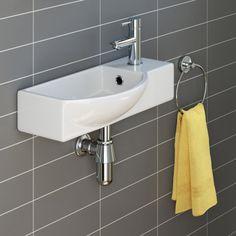 iBathUK Modern Ceramic Small Cloakroom Basin White Wall Hung Bathroom Sink for sale online Cheap Countertops, Bathroom Countertops, Concrete Countertops, Tile Counters, Laminate Counter, Wooden Counter, Small Cloakroom Basin, Bathroom Basin, Shower Bathroom