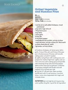 Grilled vegetables and hummus pittas