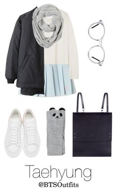 """""""Winter Date with Taehyung"""" by btsoutfits ❤ liked on Polyvore featuring Iris & Ink, Alexander McQueen, GlassesUSA, Under My Roof and Paula Bianco"""