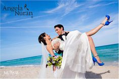 Beautiful Florida Bride with Angela Nuran Starletta Bridal Shoes dyed Cobalt Blue.  @AngelaNuranContest1