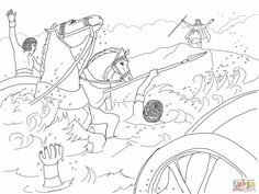 moses cloroing pages | ... Pages » army drowned moses crossing the red sea bible coloring pages