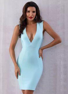 Summer Women Bandage Dress Vestido Sky Blue Tank Deep VNeck Sleeveless Clubwears Midi Celebrity Party Dress Size XS Color As Photo Sexy Dresses, Blue Dresses, Beautiful Dresses, Prom Dresses, Summer Dresses, Formal Dresses, Graduation Dresses, Beautiful Sky, Awesome Dresses