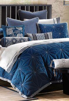 3-Piece Sashiko Comforter Set in Indigo