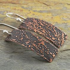 Etched Copper Earrings Abstract Splatter by CarolBradley on Etsy, $25.00