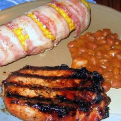 Perfect for the grill - Apple Glazed Pork, Bacon-wrapped Sweet Corn & Grandma Da's Baked Beans