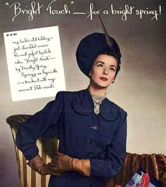 1946 ad with Dorian Leigh in Balenciaga suit and hat (Dorothy Gray lipstick ad)