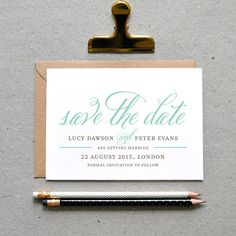 Printable Wedding Save the Date PDF / 'Classic Calligraphy' Calligraphy Card / Mint Grey Gray / Digital File Only / Printing Also Available