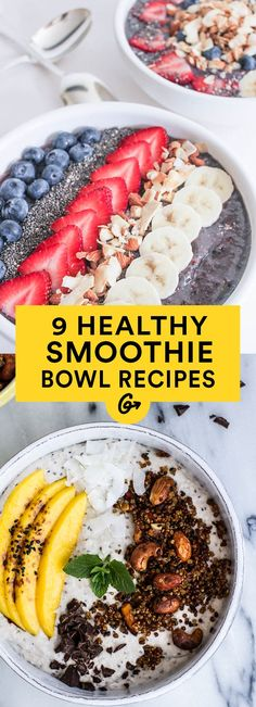 Delish Smoothie Bowls #smoothies http://greatist.com/eat/smoothie-bowl-recipes
