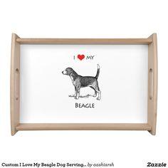 #Custom I #Love My #Beagle Dog Serving #Tray