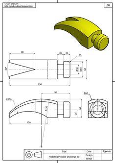 Teknik Resim Görünüş Çıkarma Örnekleri. Örnek Çizimler   Makine Eğitimi Mechanical Engineering Design, Mechanical Design, Isometric Drawing Exercises, Orthographic Drawing, Solidworks Tutorial, Drawing School, Geometric Drawing, Fashion Design Portfolio, Cad Drawing