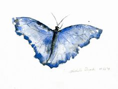 Original watercolor painting of a Blue morphe by Zendrawing, €25.00 looks like blue butterflies from the corpse bride