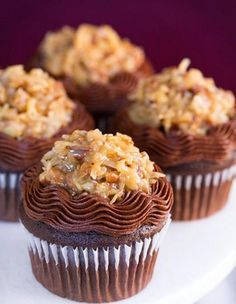 Fresh Luscious German Chocolate Cupcakes Pure Indulgence @ http://juliescafebakery.com/fresh-german-chocolate-cupcakes  I particularly like the way these cupcakes are decorated.