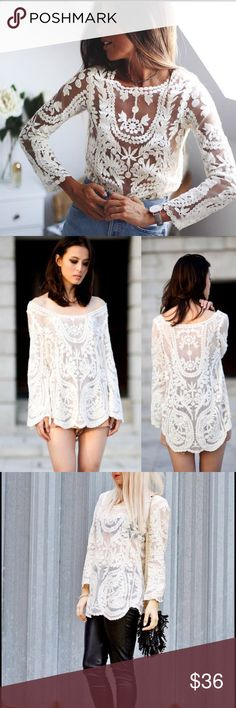 Oversized Sheer Lace Crochet Summer Tunic Top Brand new! Available in black or white. One size fits most, best for size 4-10. Tops Tunics