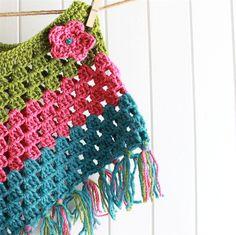 Crochet Poncho - toddler, woollen, bright green/pink/blue   lolli & bean   madeit.com.au Granny Stripe poncho with fringe
