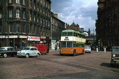 Route 105 trolleybus about to cross the Clyde at Victoria Bridge, Glasgow (1967) pic Alan Murray-Rust