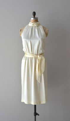 Pearled Gloss dress / 1970s cream halter dress / 70s by DearGolden, $78.00