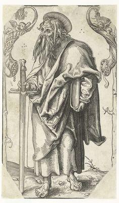 Paulus met zwaard en boek, Lucas Cranach (I), 1510 - 1515 Medieval Drawings, Lucas Cranach, Tarot, Ink Master, Prayer Book, Types Of Art, Book Illustration, Ancient Art, Middle Ages
