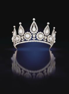 The Rosebery Tiara in gold silver and diamonds, with natural bouton and drop pearls in fitted case by R & S Garrard, London, circa 1878, fro...